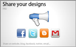 Share your design on facebook, twitter, blog websites, emails...