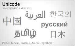 unicode write in Chinese, Arabic, Hindi etc...